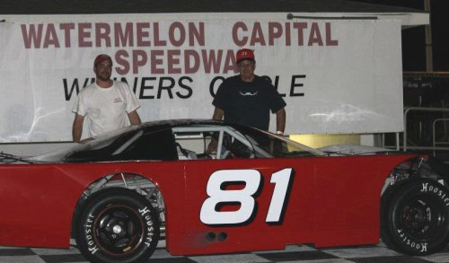 Kathleen, GA's Billy Chancy, seen here from earlier action,  scored the victory in the Outlaw Late Model season opener Saturday night at Watermelon Capital Speedway.  Photo by Robin Alford