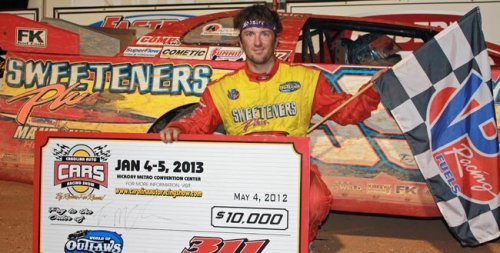 Tim McCredie broke a nearly 10 month slump Friday night by scoring the World of Outlaws Late Model victory at 311 Motor Speedway. Photo courtesy WoO