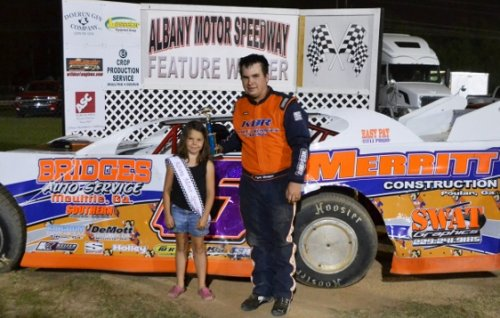 Kyle Bridges of Moultrie, GA celebrates his NeSmith Chevrolet Weekly Racing Series Late Model victory on Saturday night at Albany Motor Speedway in Albany, ...