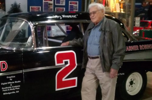 Georgia Racing Hall of Fame member Roz Howard, seen here donating a replica of his 1957 MARC championship winning Chevrolet to the Hall of Fame, passed away this week at the age of 93.  Photo courtesy GRHOF
