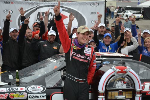 Grant Enfinger celebrates with his crew in victory lane after winning this year's ARCA Mobile 200 at Mobile International Speedway.  ARCA announced this week that the series will return to the speedway in 2014.  Photo by Brandon Reed