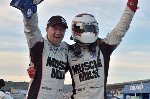 Lucas Luhr and Klaus Graf scored the win at Mazda Raceway Laguna Seca Saturday, making Luhr the all time ALMS win leader.  Photo courtesy ALMS Media