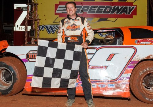 Steve Casebolt smiles in victory lane after winning Saturday night's Ray Cook's Spring Nationals Super Late Model victory at Dixie Speedway.  Photo by Kevin Prater/praterphoto.com
