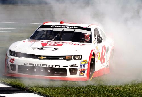 Larson gets breakthrough nationwide win at fontana for Larson motors used cars