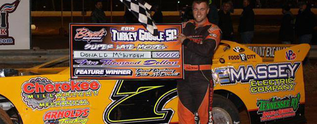 RINGGOLD, GA – Donald McIntosh came out on top of a duel with fellow Georgian Shane Clanton to score the win in Saturday's Turkey Gobble 50 at Boyd's Speedway IN […]