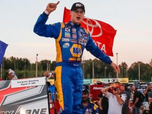 Todd Gilliland led all 150 laps in Saturday's NASCAR K&N Pro Series West Race at Evergreen Speedway to collect his fifth series win of the season. Photo by Otto Kitsinger/NASCAR via Getty Images